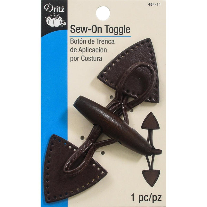 Dritz Sew On Toggle Brown With Dark Wooden Button