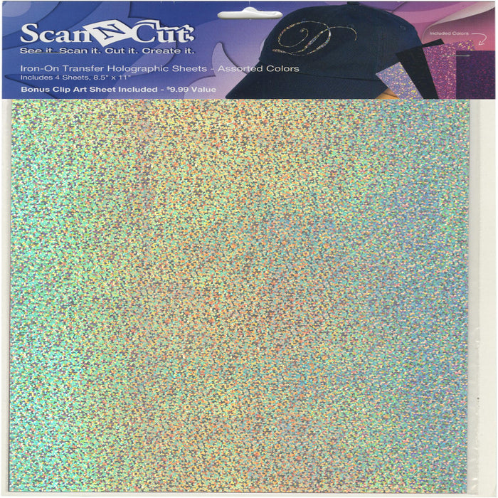 ScanNCut Iron-on Transfer Holographic Sheets Wht Blk Pk Prpl 8.5inX11in