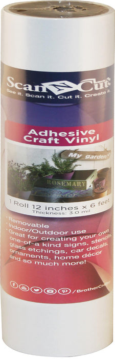 Brother ScanNCut Adhesive Craft Vinyl White 12inX6ft