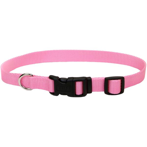 "Adjustable Nylon 5-8"" Dog Collar W-Tuff Buckle-Pink Bright, Neck Size 10""-14"""