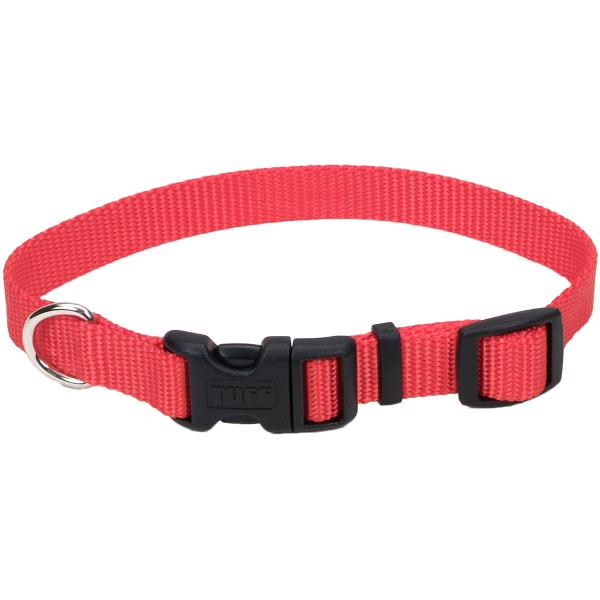 "Adjustable Nylon 5-8"" Dog Collar W-Tuff Buckle-Red, Neck Size 10""-14"""