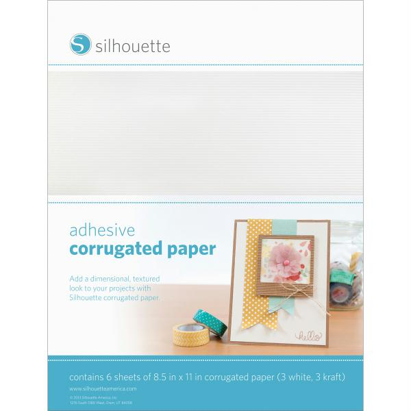 "Silhouette Adhesive Back Corrugated Paper 8.5""X11"" 6-Pkg-White & Kraft"