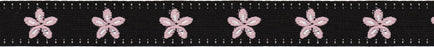 Jacquard Daisy Ribbon Black  and  Pink 5/8X9'