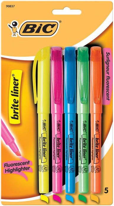 BIC Brite Liner Fluorescent Highlighters 5-Pkg-Assorted Colors