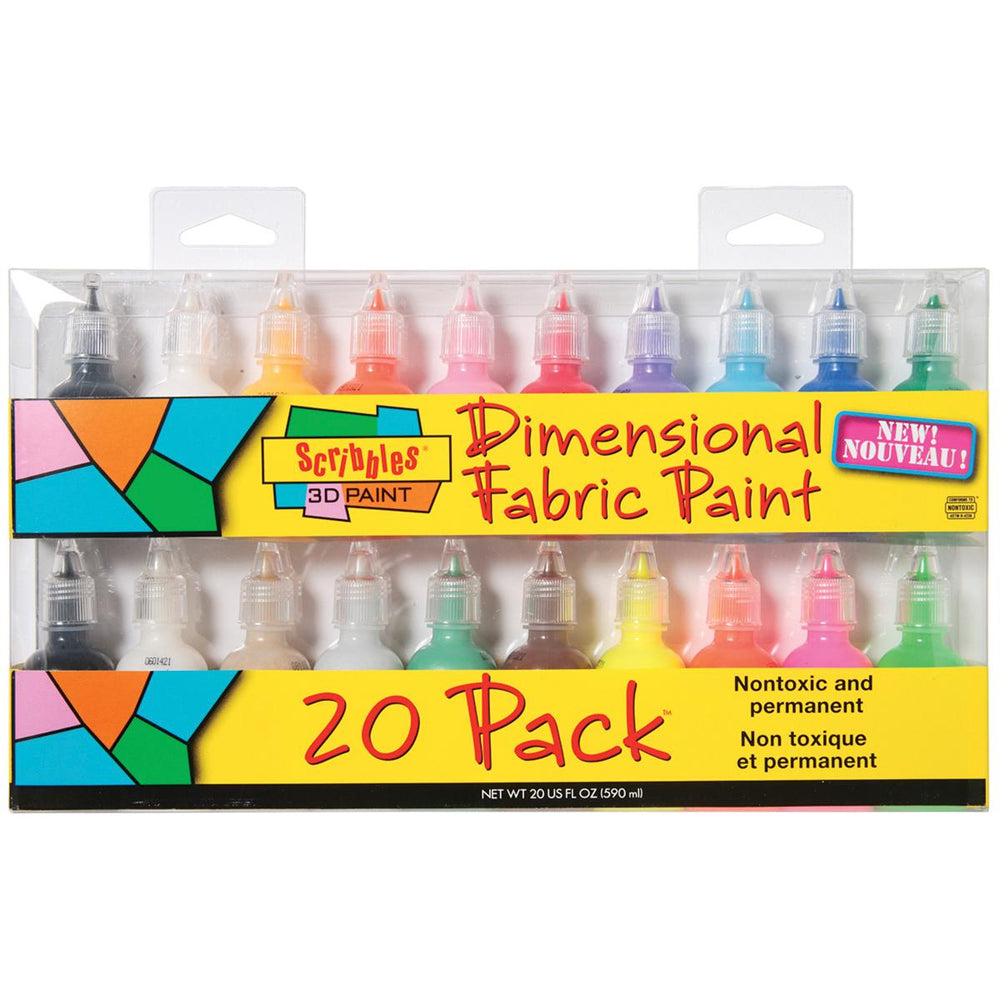 Scribbles 3D Fabric Paints 1oz 20-Pkg-