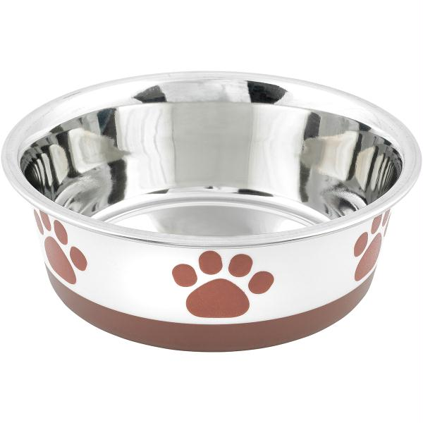 Non-Skid Bonded Stainless Steel Bowl 1qt-White With Brown Print