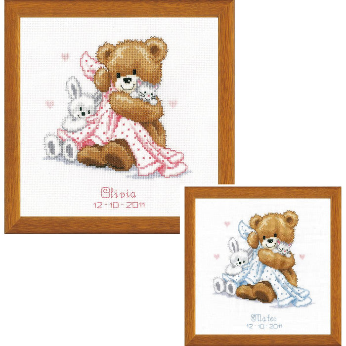 "Vervaco Counted Cross Stitch Kit 6.75""X7""-Bear With Blanket On Aida (14 Count)"