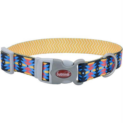 "Sublime 3-4"" Adjustable Dog Collar-Aztec W-Yellow Chevron, Neck Size 8""-12"""