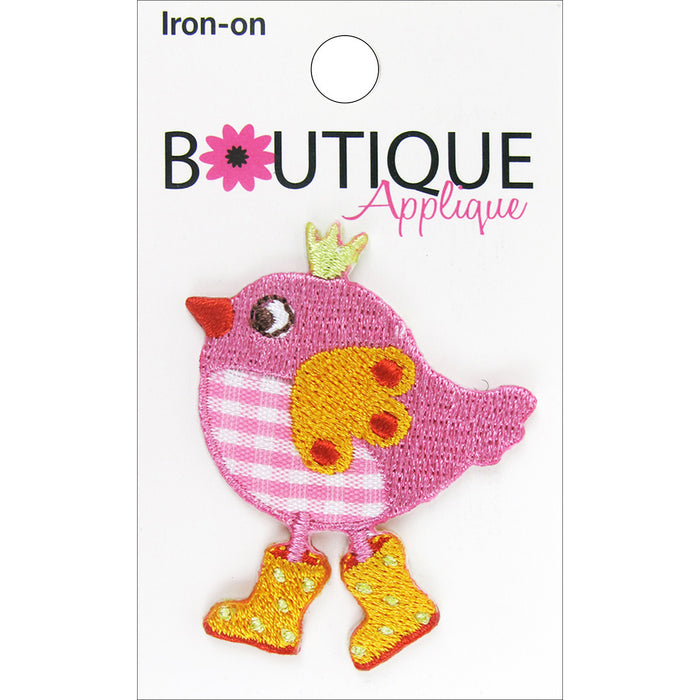 Iron-On Appliques Pink Bird