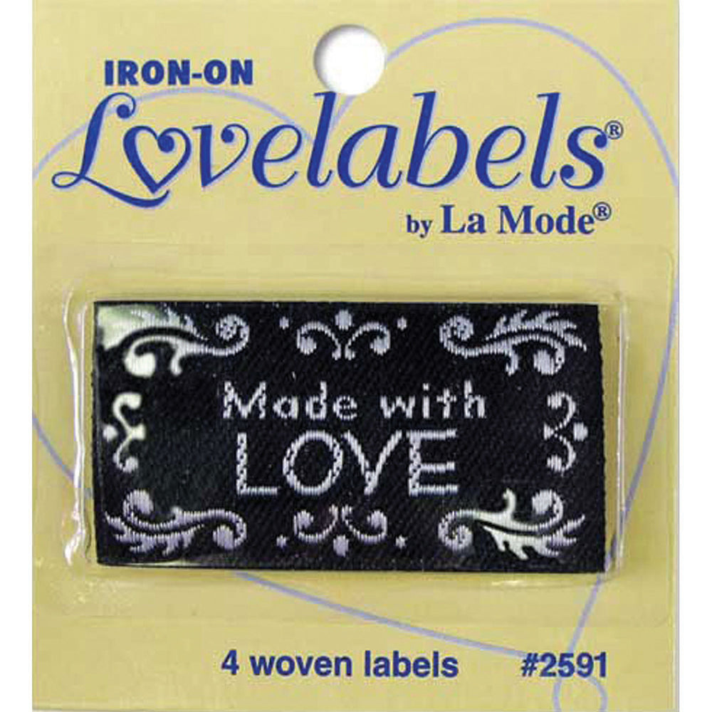 Iron-On Lovelabels Made With Love Black 4/Pkg
