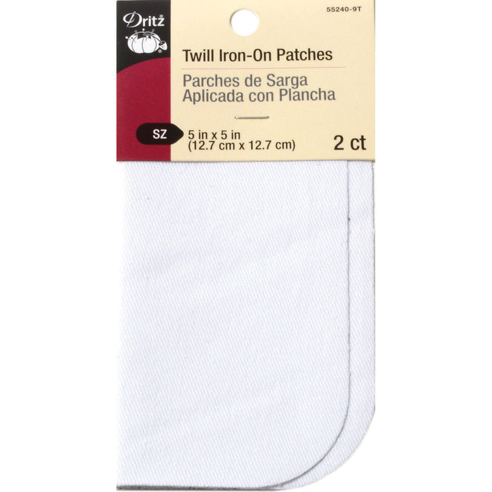 Iron-On Twill Patches White 5inx5in 2/Pkg