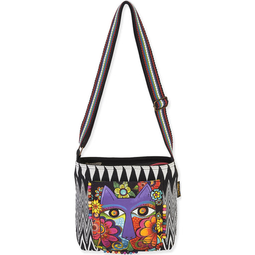Laurel Burch Crossbody Blossoming Feline 13.5inX4inX10in
