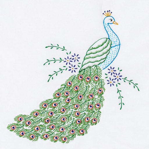 Stamped White Quilt Blocks Peacock 18inx18in 6/Pkg