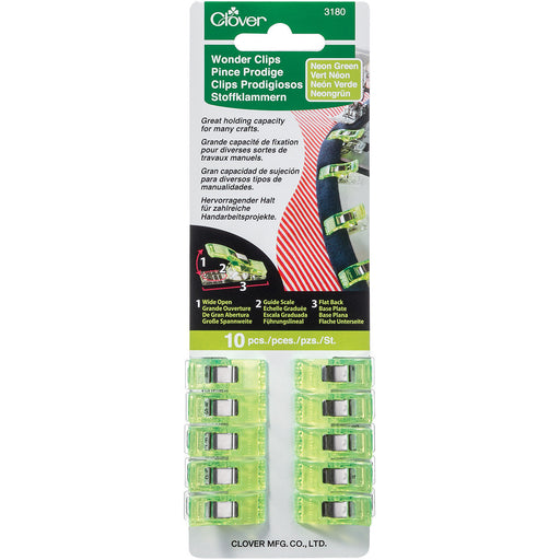 Wonder Clips Neon Green 10/Pkg