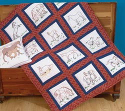 Themed Stamped White Quilt Blocks Horses