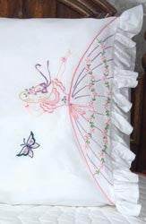 Stamped Lace Edge Colonial Lady Pillowcase Butterfly