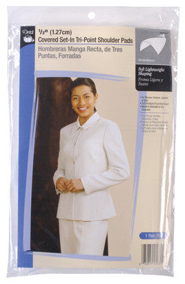 Shoulder Pads White 1/2in Covered Set-In Tri-Point