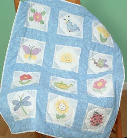 Themed Stamped White Quilt Blocks Octagon Garden