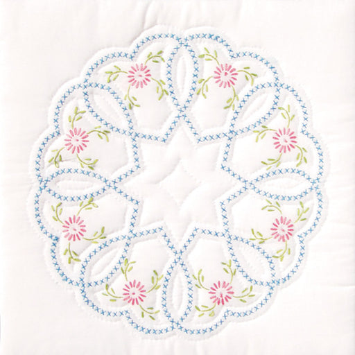 Stamped White Quilt Blocks Starburst Of Hearts