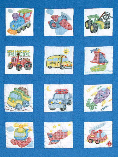 Stamped Nursery Quilt Blocks Transportation