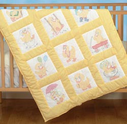 Stamped White Nursery Quilt Blocks Baby Ducks