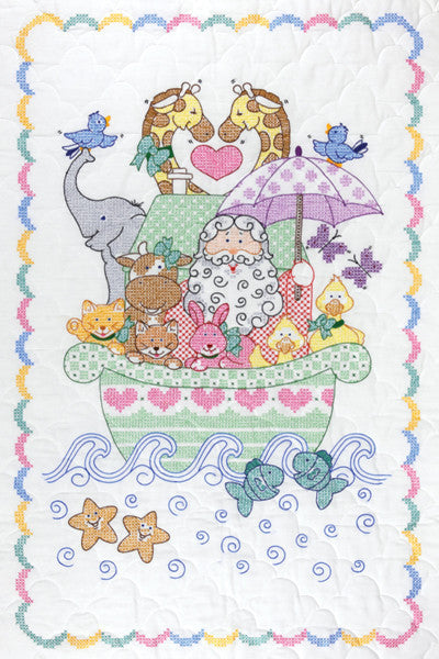 Stamped White Quilt Crib Top Noah's Ark