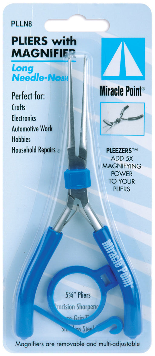 Miracle Point Long Needle-Nose Pliers With Magnifier