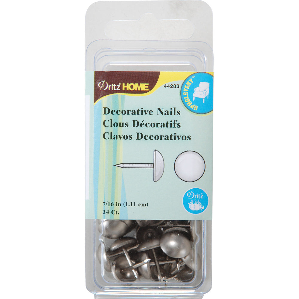 Upholstery Decorative Nails 7/16in Head Brushed Silver