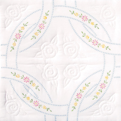 Stamped White Quilt Blocks Interlocking Wedding Rings