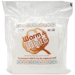 Warm and White Cotton Batting Twin Size 72inX90in