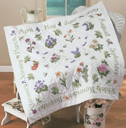 Donna Dewberry Year Of Flowers Lap Quilt Stamped Kit