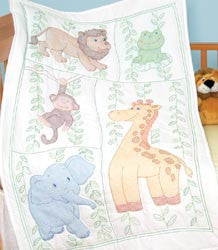 Stamped White Quilt Crib Top Jungle Fun