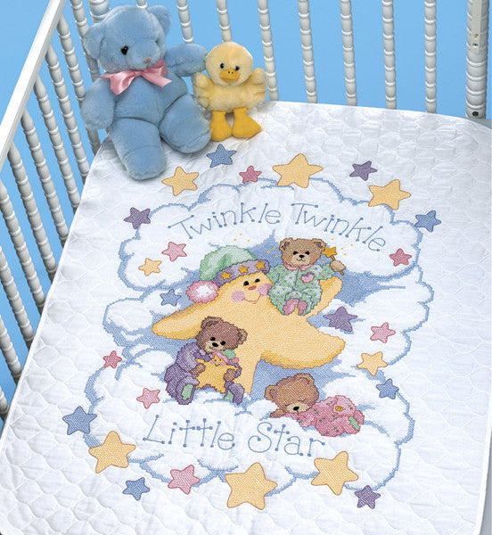 Twinkle Twinkle Stamped Cross Stitch Quilt Kit