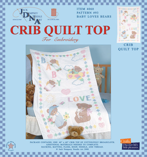 Stamped White Quilt Crib Top Baby Love Bears