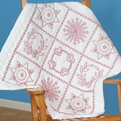 Stamped White Wall Or Lap Quilt Sampler