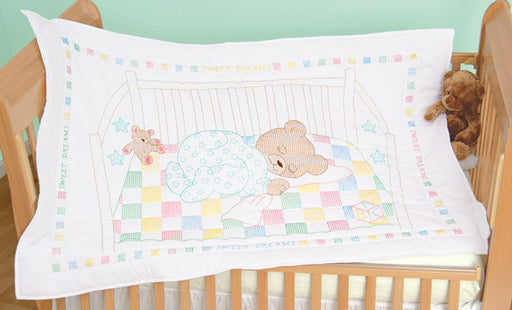 Stamped White Quilt Crib Top Snuggly Teddy