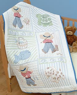 Stamped White Quilt Crib Top Little Boy