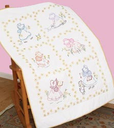 Stamped White Lap Quilt Top Sunbonnet Sue