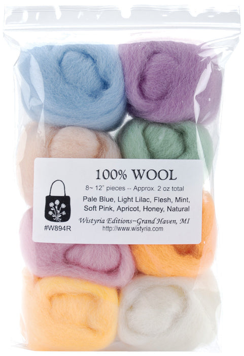 Wool Roving 12in .25oz Soft Pastels