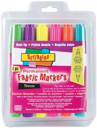 Scribbles Dual-Tip Permanent Fabric Markers Neon