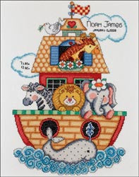 Noah's Ark Birth Record Counted Cross Stitch Kit 11inX14in
