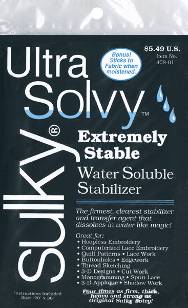 Ultra Solvy Water Soluble Stabilizer 20inx36in