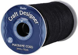 Craft Designer Macrame Cord Black