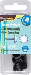 Upholstery Decorative Nails 7/16in Black Smooth Head