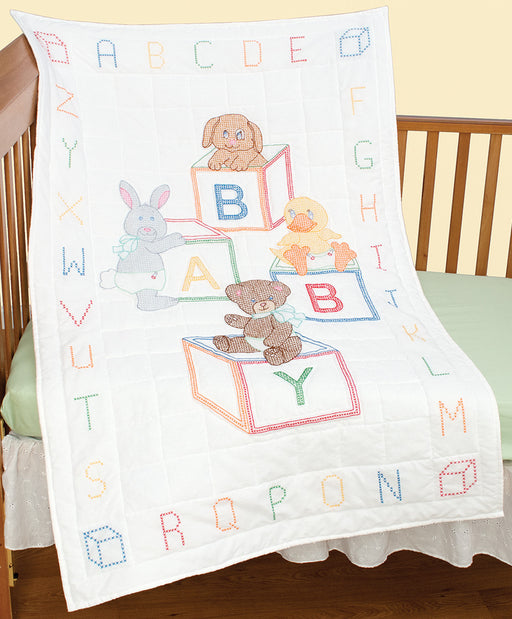 Stamped White Quilt Crib Top Baby Blocks