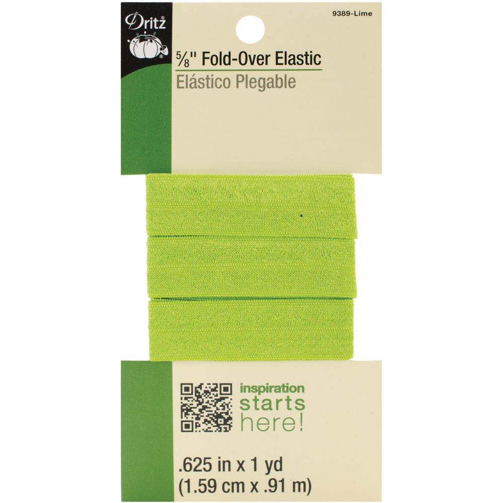 Fold-Over Elastic Lime 5/8inx1yd