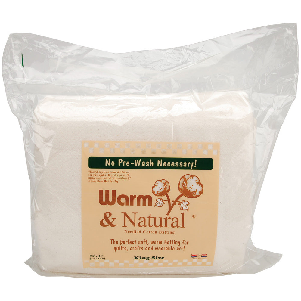 Warm and Natural Cotton Batting King Size 120inx124in