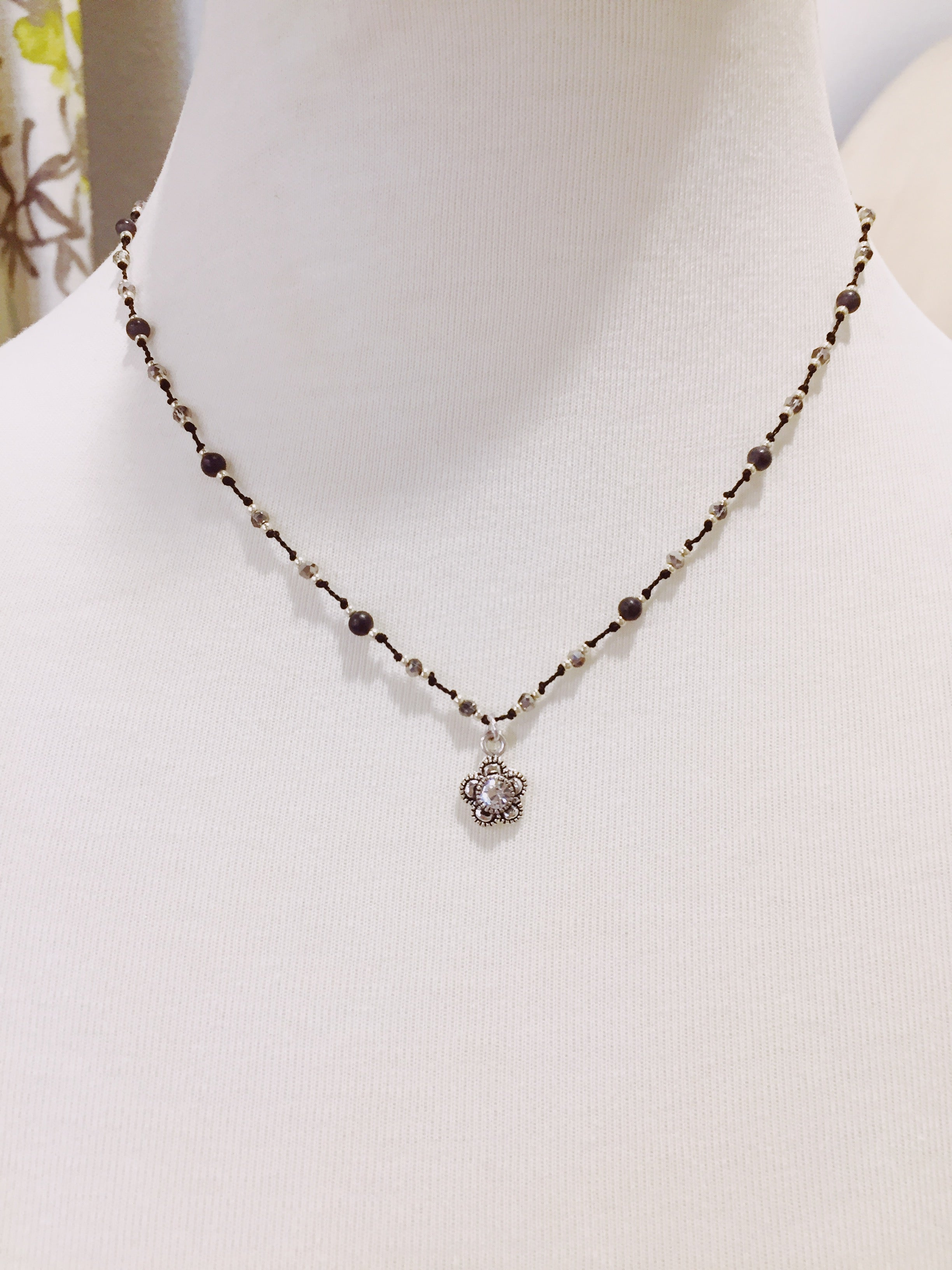 Black and Gray Crystal Necklace