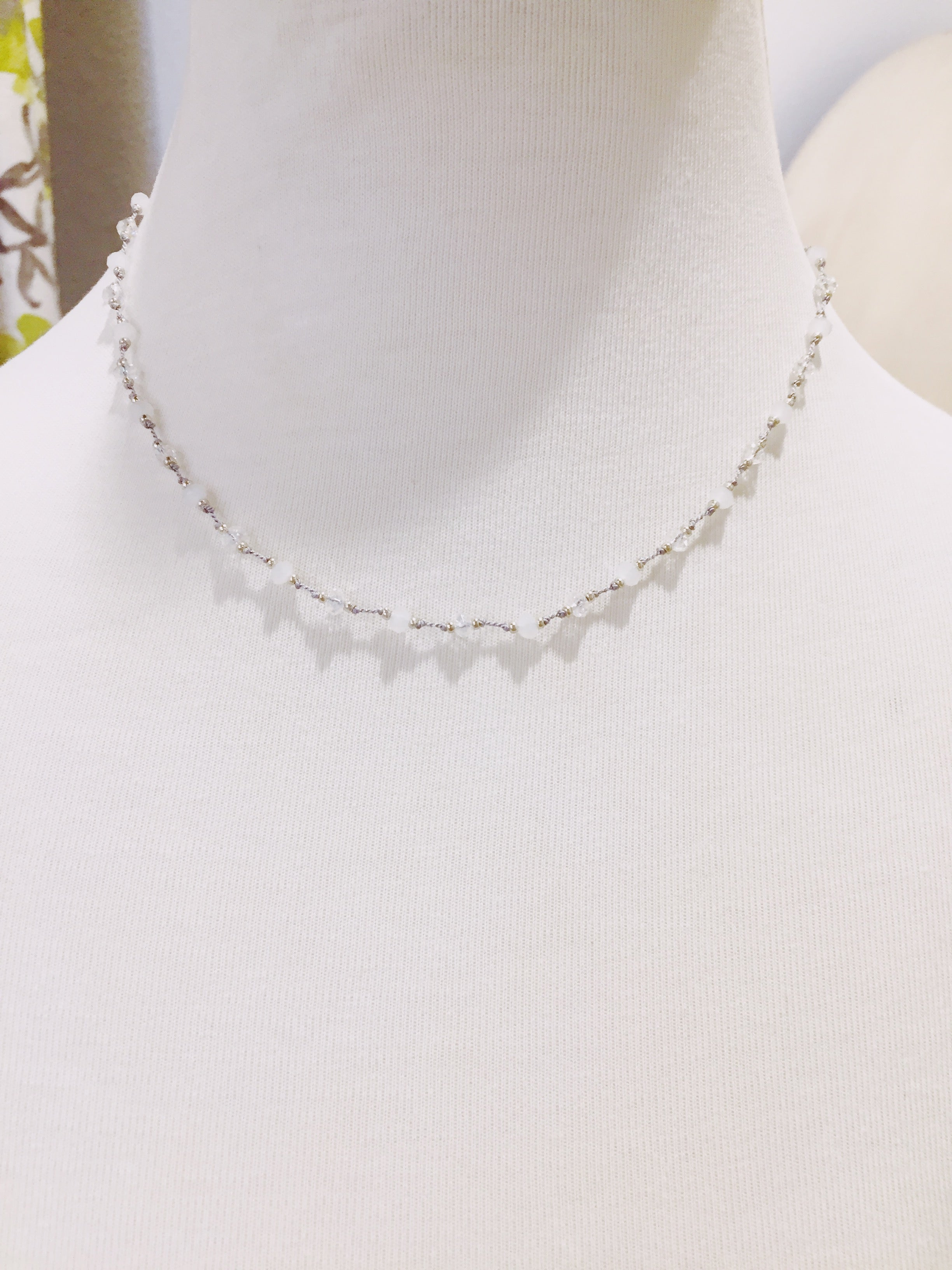 Clear and White Crystal Necklace