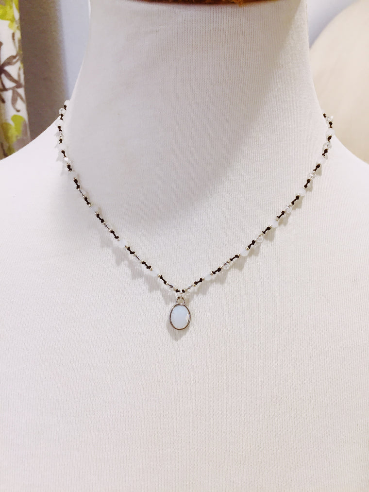 White Crystal And Opal Necklace